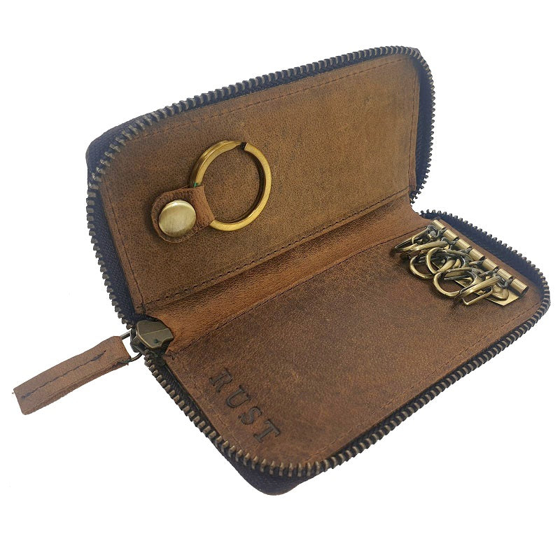 Porte-Clés - Buffalo Leather Key Chain Zip Pouch - The Leather Trading Co.