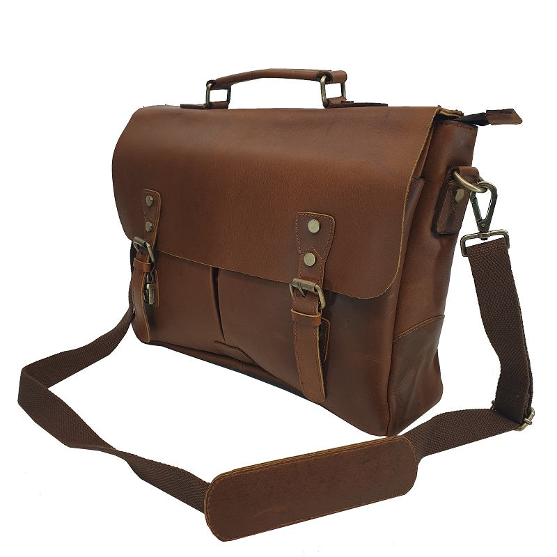 "Columbia 16"" Tan Buffalo Leather Business Bag - The Leather Trading Co."