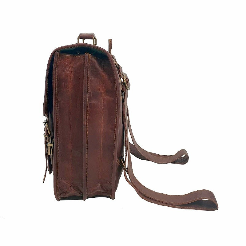 Hybrid 16″ Full Grain Leather Backpack - The Leather Trading Co.
