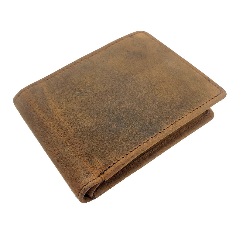 El Derado - Full Grain Buffalo Bifold Leather Wallet With Side Zipper - The Leather Trading Co.