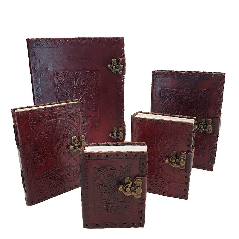 Heirloom Medium Celtic Tree of Life Lockable Leather Journal - The Leather Trading Co.