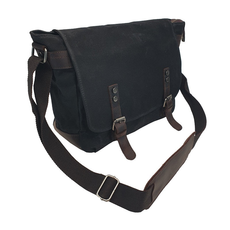 Rambo 14″ Black Waxed Canvas & Leather Magnet Satchel - The Leather Trading Co.