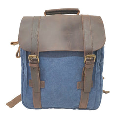 "Metropolis 13"" Navy Washed Canvas Backpack - The Leather Trading Co."
