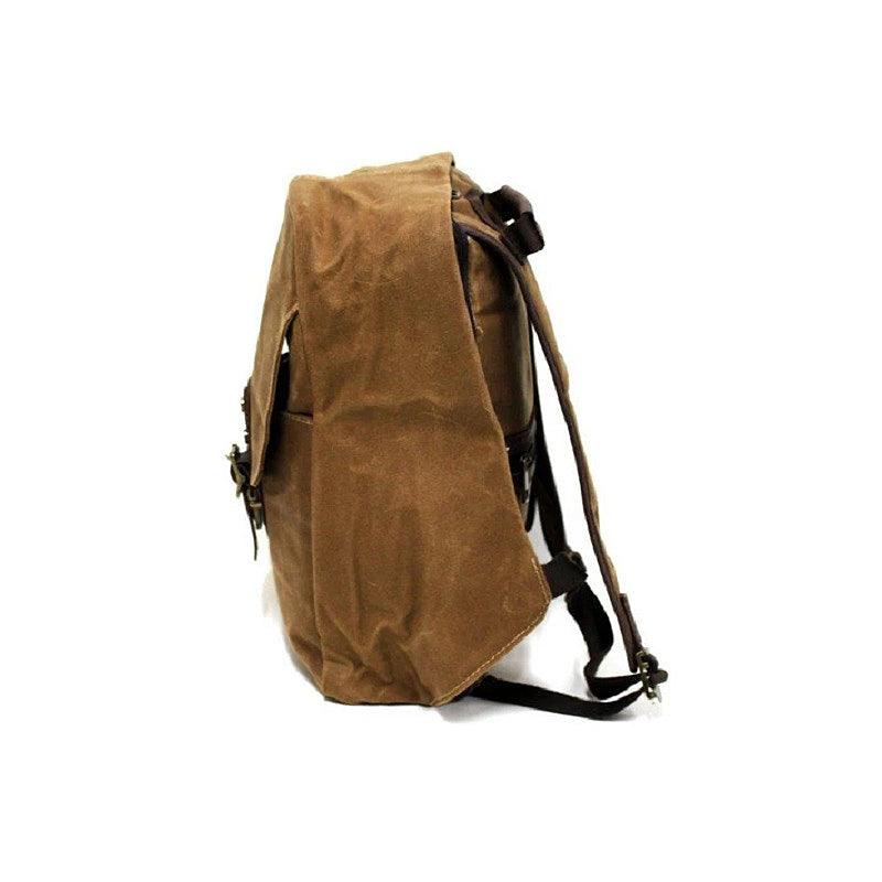 Secure 18″ Grey Weather Proof Waxed Canvas Backpack - The Leather Trading Co.