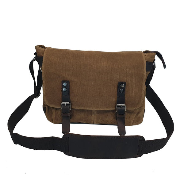 Rambo 14″ Khaki Waxed Canvas & Leather Magnet Satchel - The Leather Trading Co.