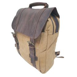 "Metropolis 13"" Khaki Washed Canvas Backpack - The Leather Trading Co."