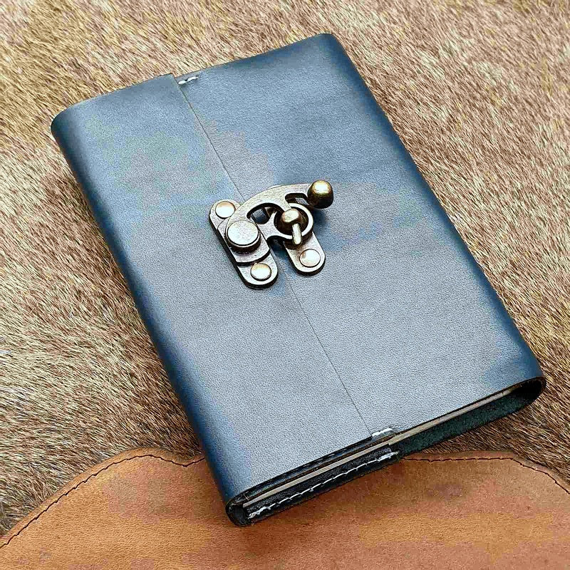 The Ark Handmade Navy Blue Refillable Leather Travel Journal - The Leather Trading Co.