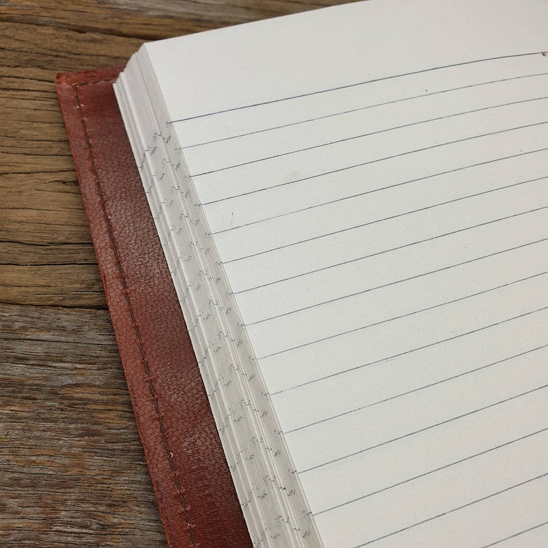 The Saddler A5 Handmade Lined Leather Journal - The Leather Trading Co.