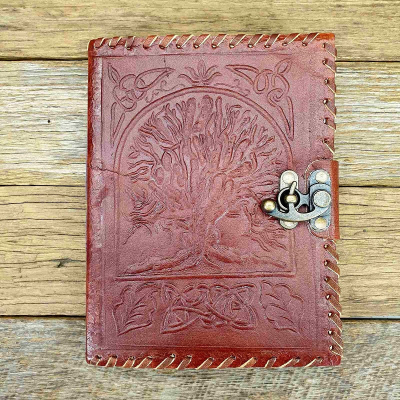 Elk Large Lined Celtic Tree of Life Lockable Leather Journal - The Leather Trading Co.