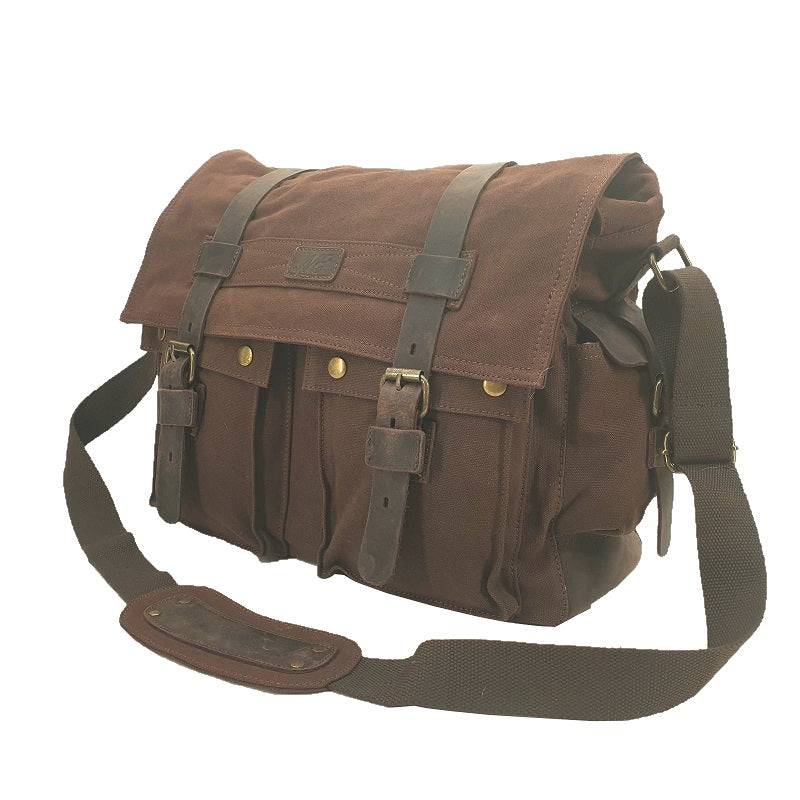 Trident 14″ Burgendy Canvas Double Pocket Satchel with Full Grain Buffalo Straps - The Leather Trading Co.