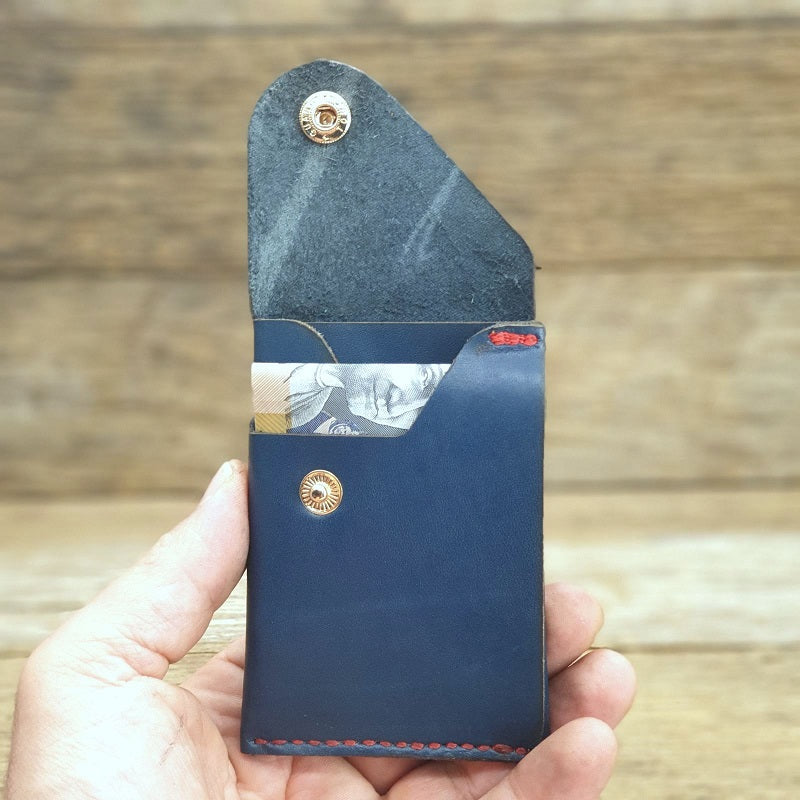 The Commander Curve - Handmade Minimalist Slide Cow Hide Blue Card & Cash Wallet - The Leather Trading Co.