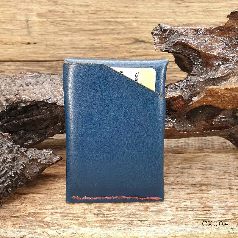 Commander X  - Navy Cowhide Handmade Minimalist Hybrid Card & Cash Wallet  - CX004 - The Leather Trading Co.