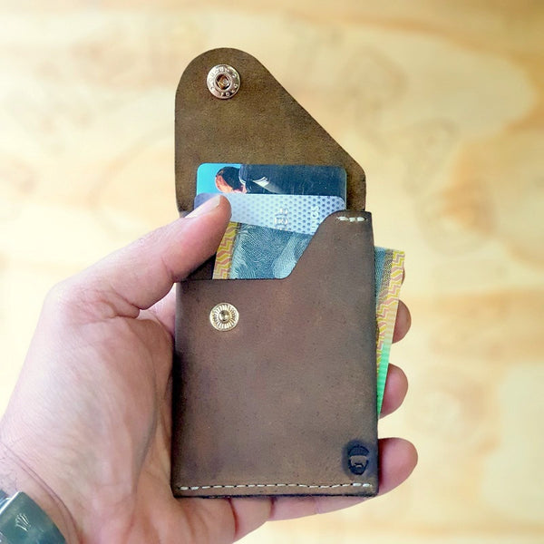 The Commander  X -  Handmade Minimalist Slide Leather Card & Cash Wallet CX1114