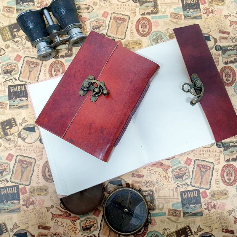 Saddlery Handmade Leather Lock Journal - The Leather Trading Co.