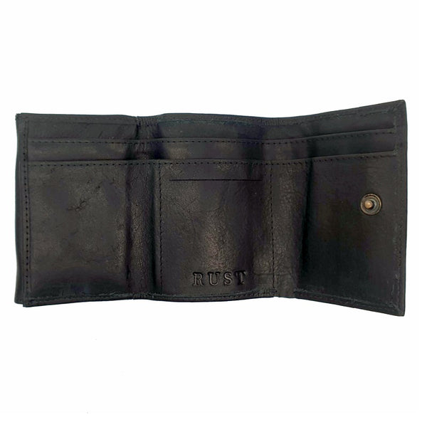 Kane – Black Cowhide Tri-fold Leather Wallet - The Leather Trading Co.