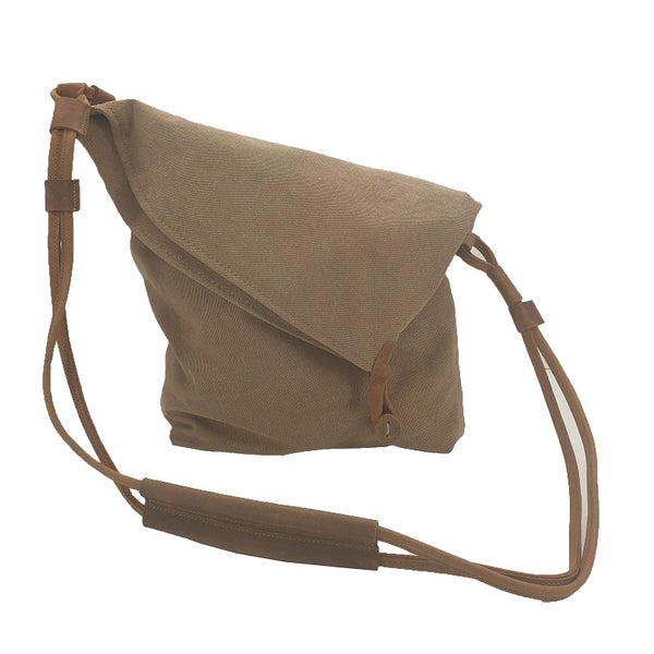 "Tel Aviv 12"" Khaki Canvas & Leather Bohemian Sling Fold Bag - The Leather Trading Co."
