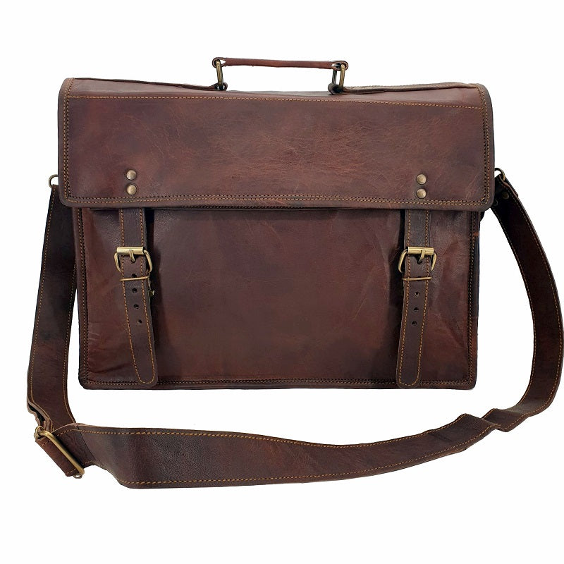 "The Englishman 16"" Old School Leather Satchel Bag - The Leather Trading Co."