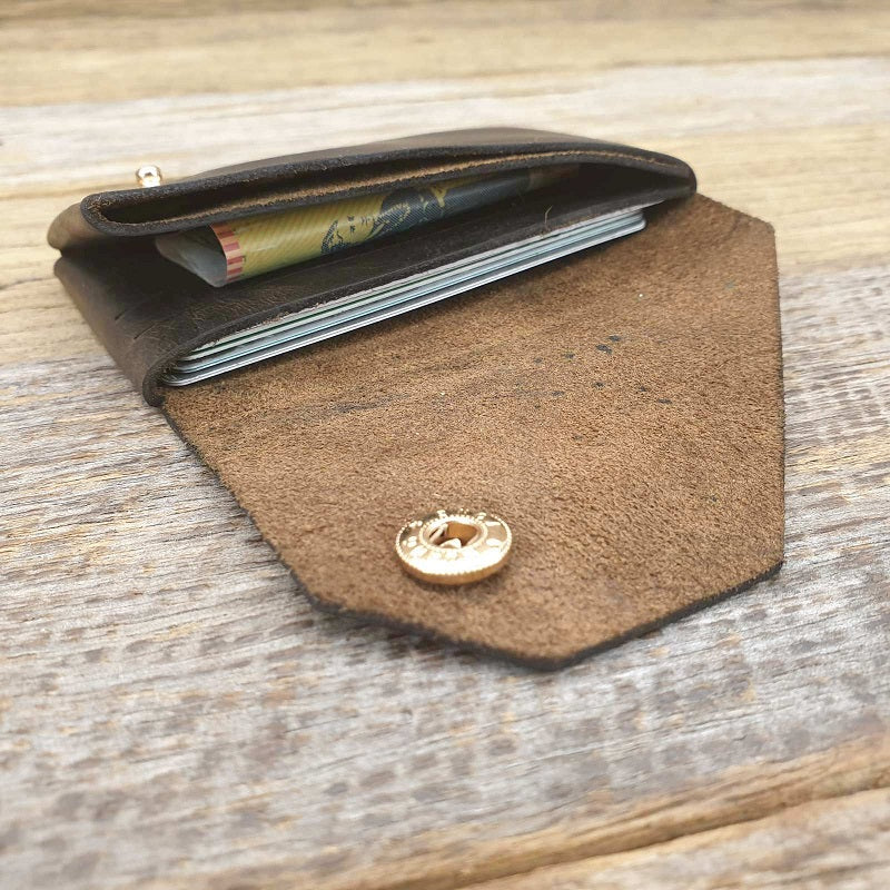 Spartan - Handmade minimalist leather card, coin & cash origami styled wallet - The Leather Trading Co.