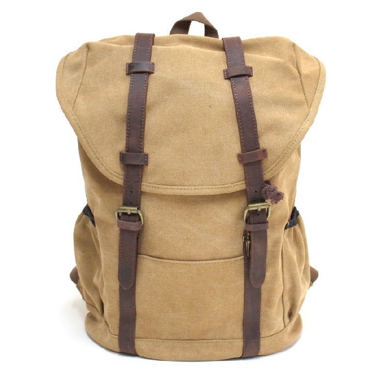"Terrain 16"" Khaki Buffalo Leather Travel Backpack - The Leather Trading Co."