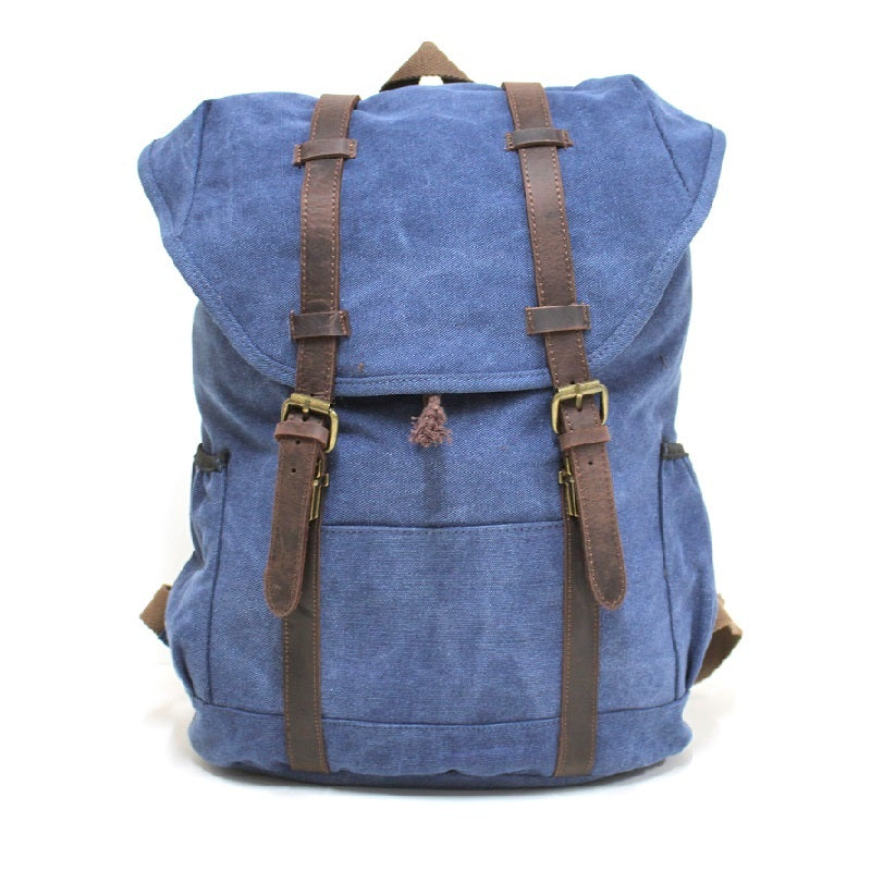"Terrain 16"" Navy Buffalo Leather Travel Backpack - The Leather Trading Co."