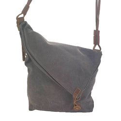 "Tel Aviv 12"" Grey Canvas & Leather Bohemian Sling Fold Bag - The Leather Trading Co."