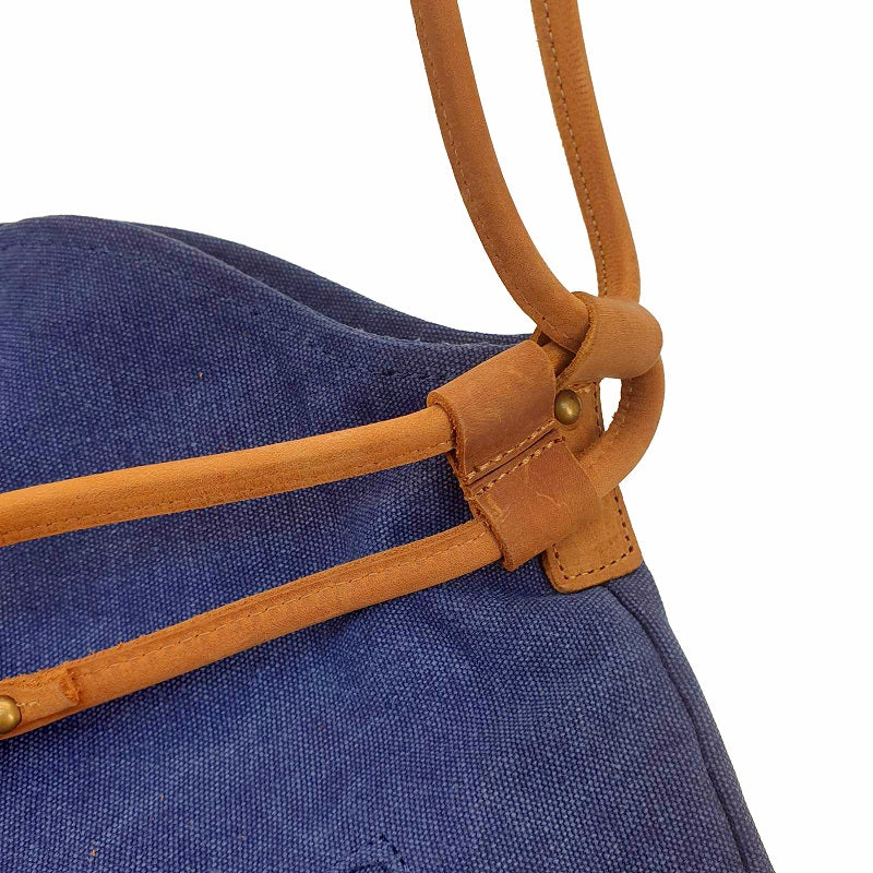"Tel Aviv 12"" Navy Canvas & Leather Bohemian Sling Fold Bag - The Leather Trading Co."