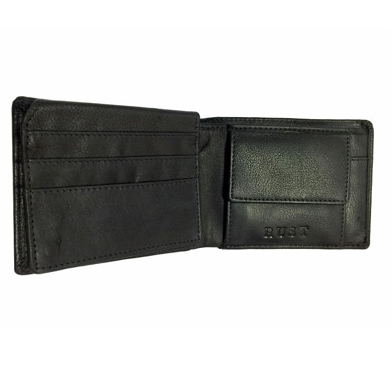 Euro - Black Cowhide Double Fold Button Leather Wallet - The Leather Trading Co.
