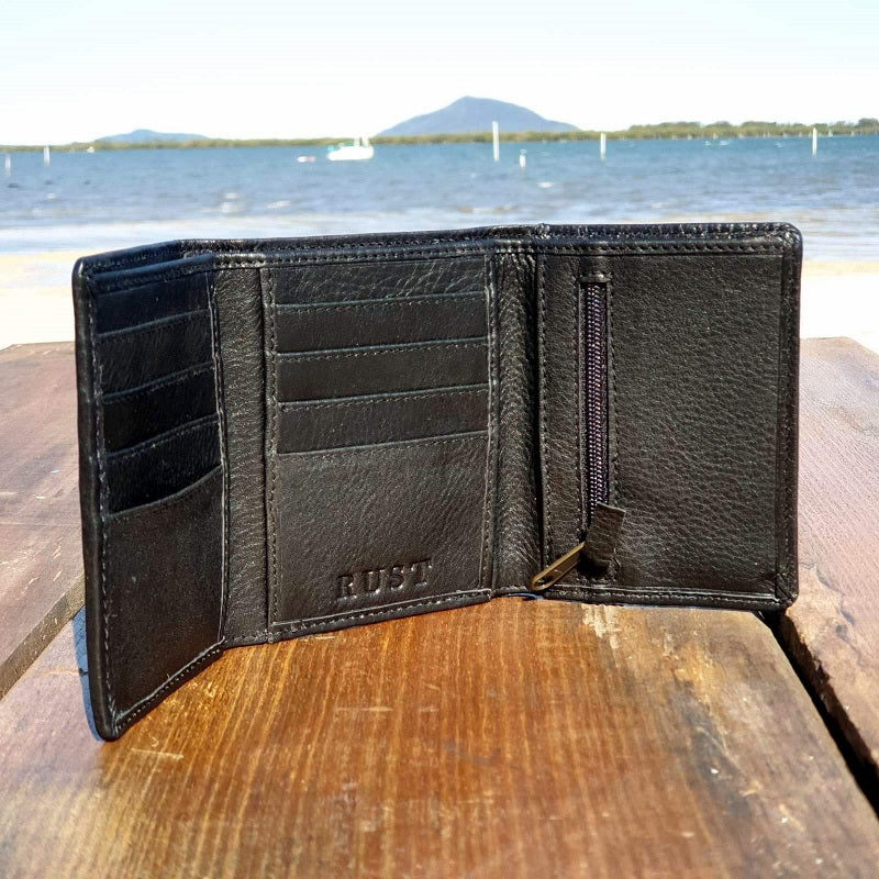 Frontier - Tri-Fold Handmade Portrait Cowhide Black Leather Wallet - The Leather Trading Co.