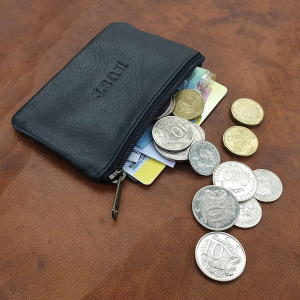 Connery - Card, Cash & Cash Zippered Black Cowhide Pouch Wallet - The Leather Trading Co.