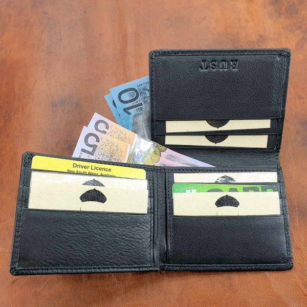 The Bourne  Mulit-cash Tri-Fold Travellers Cow Hide Black Wallet