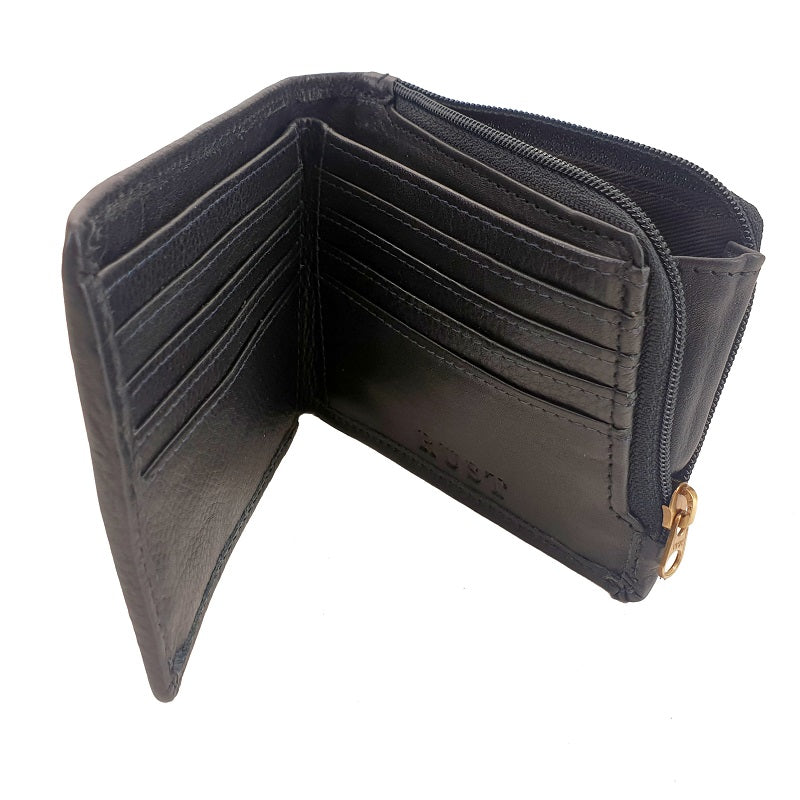 El Derado - Full Grain Black Cowhide Bifold Leather Wallet With Side Zipper - The Leather Trading Co.
