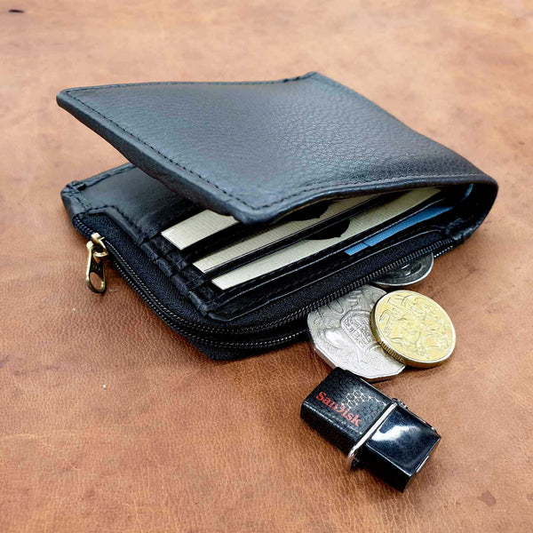 El Derado Bifold Full Grain Cow hide Black Leather Wallet With Side Zipper