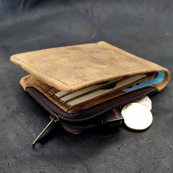 El Derado Bifold Full Grain Leather Wallet With Side Zipper