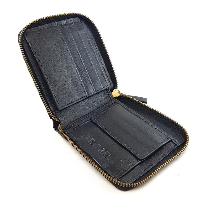 Cruise - Black Cowhide Leather 3Fold Zippered Wallet - The Leather Trading Co.