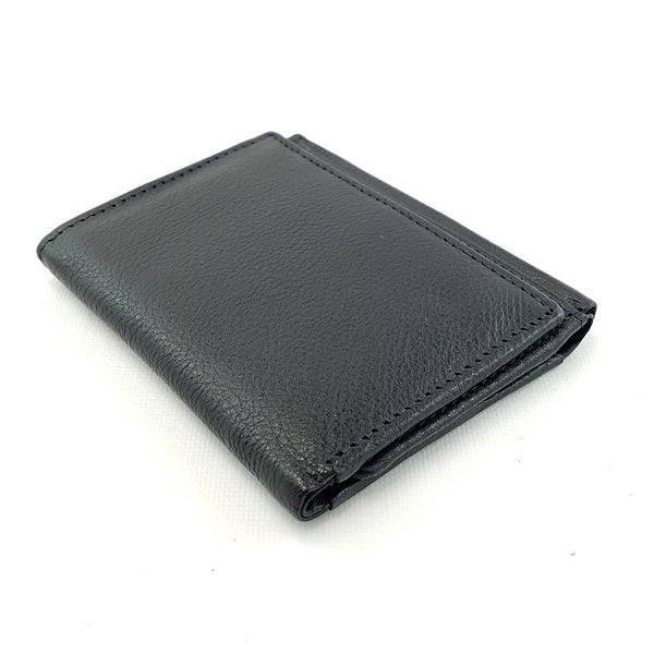 Frontier Tri-Fold Handmade Portrait Cowhide Black Leather Wallet