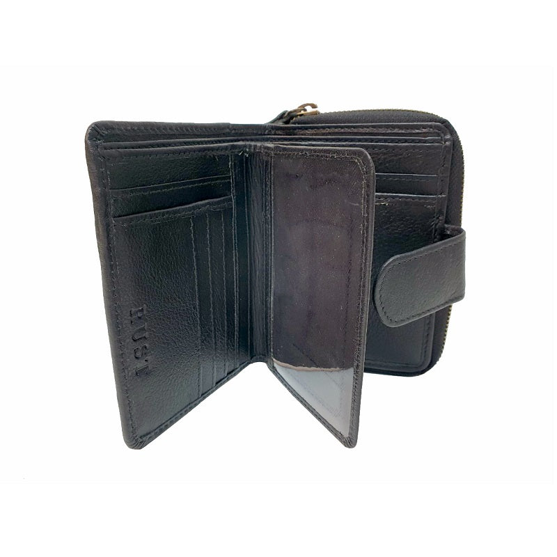 Di-ago – Black Cowhide Leather Button Zip Wallet - The Leather Trading Co.