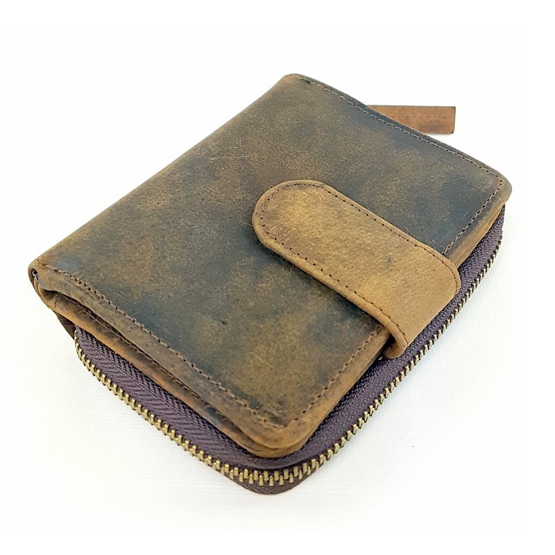 Di-ago - Handmade Buffalo Leather Button Zip Wallet - The Leather Trading Co.
