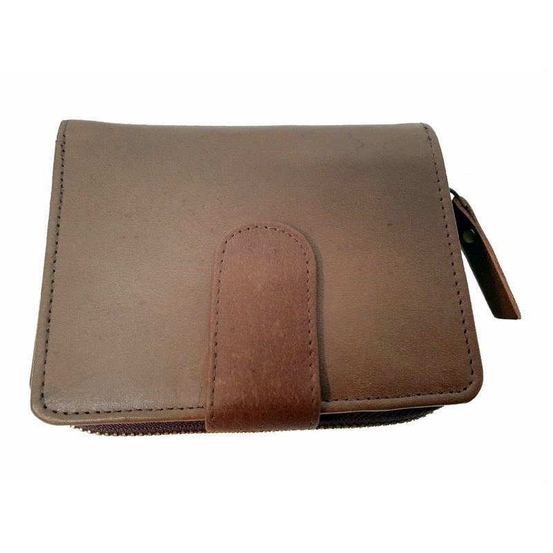 Di-ago – Tan Calf Leather Button Zip Wallet - The Leather Trading Co.