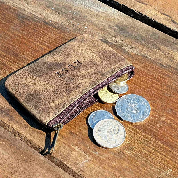 Connery Card, Cash & Cash Zippered Buffalo Hide Pouch Wallet