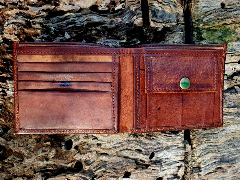 Canyon - Handmade Goat Leather Bifold Landscape Wallet - The Leather Trading Co.