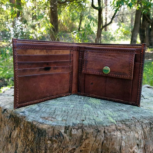Canyon Handmade Leather Bifold Landscape Wallet - The Leather Trading Co.