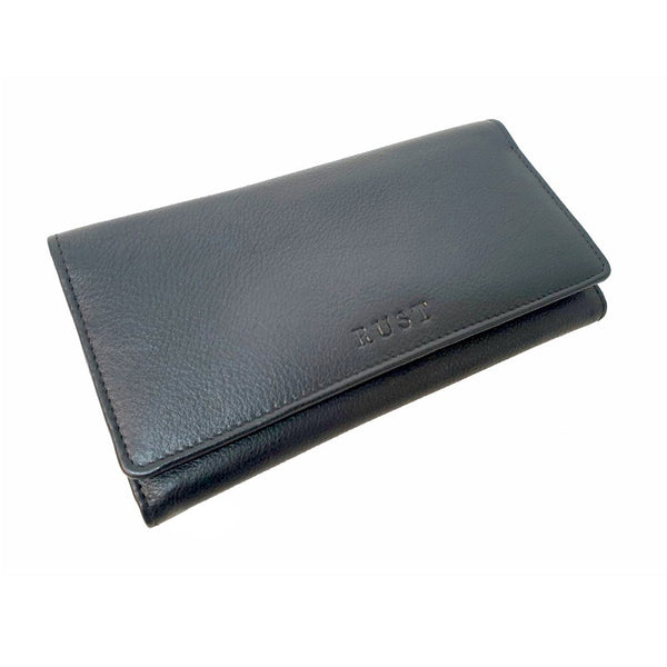 Armada – Black Cowhide Women's Long Wallet with Button - The Leather Trading Co.