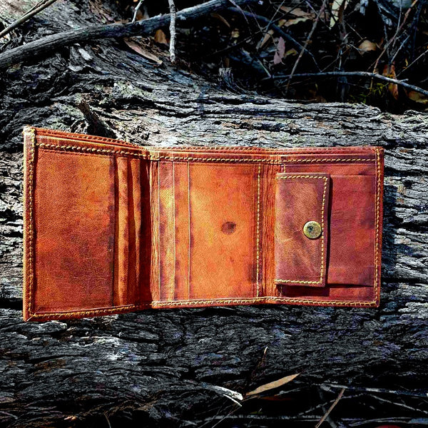 Canyon Handmade Leather Tri-fold Portrait Wallet