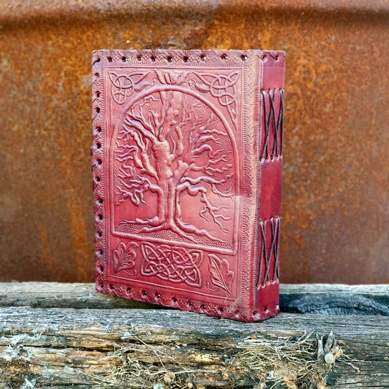 Heirloom Large Celtic Tree of Life Lockable Leather Journal - The Leather Trading Co.