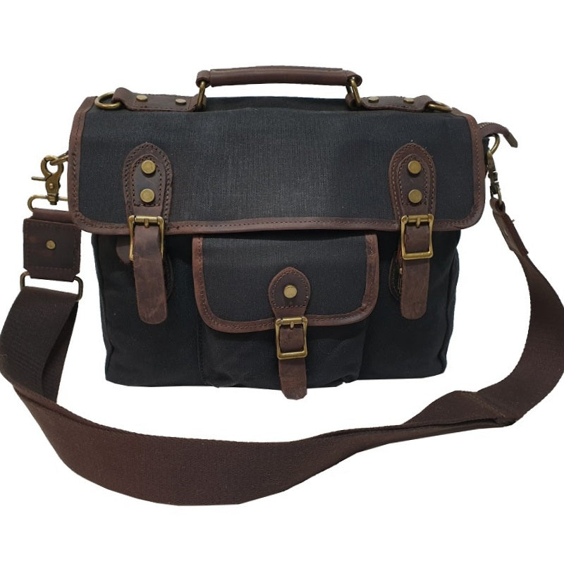 "Nomad 15"" Black Waxed Canvas and Leather Satchel Weather Proof Laptop Bag - The Leather Trading Co."