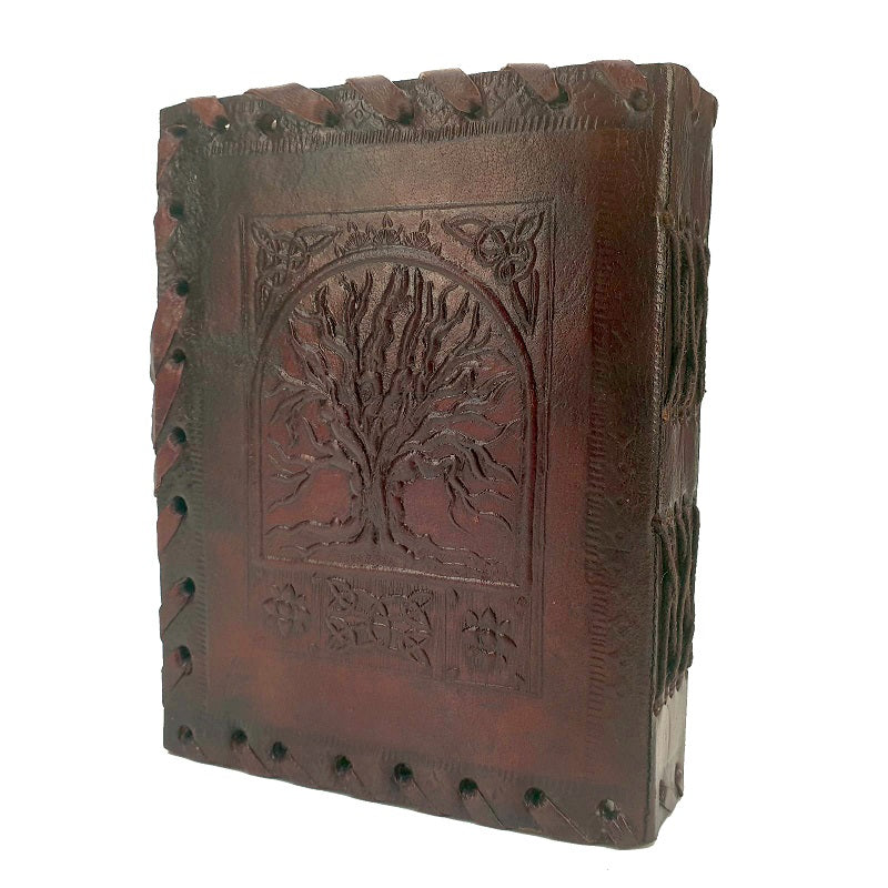 Heirloom Small Celtic Tree of Life Lockable Leather Journal - The Leather Trading Co.