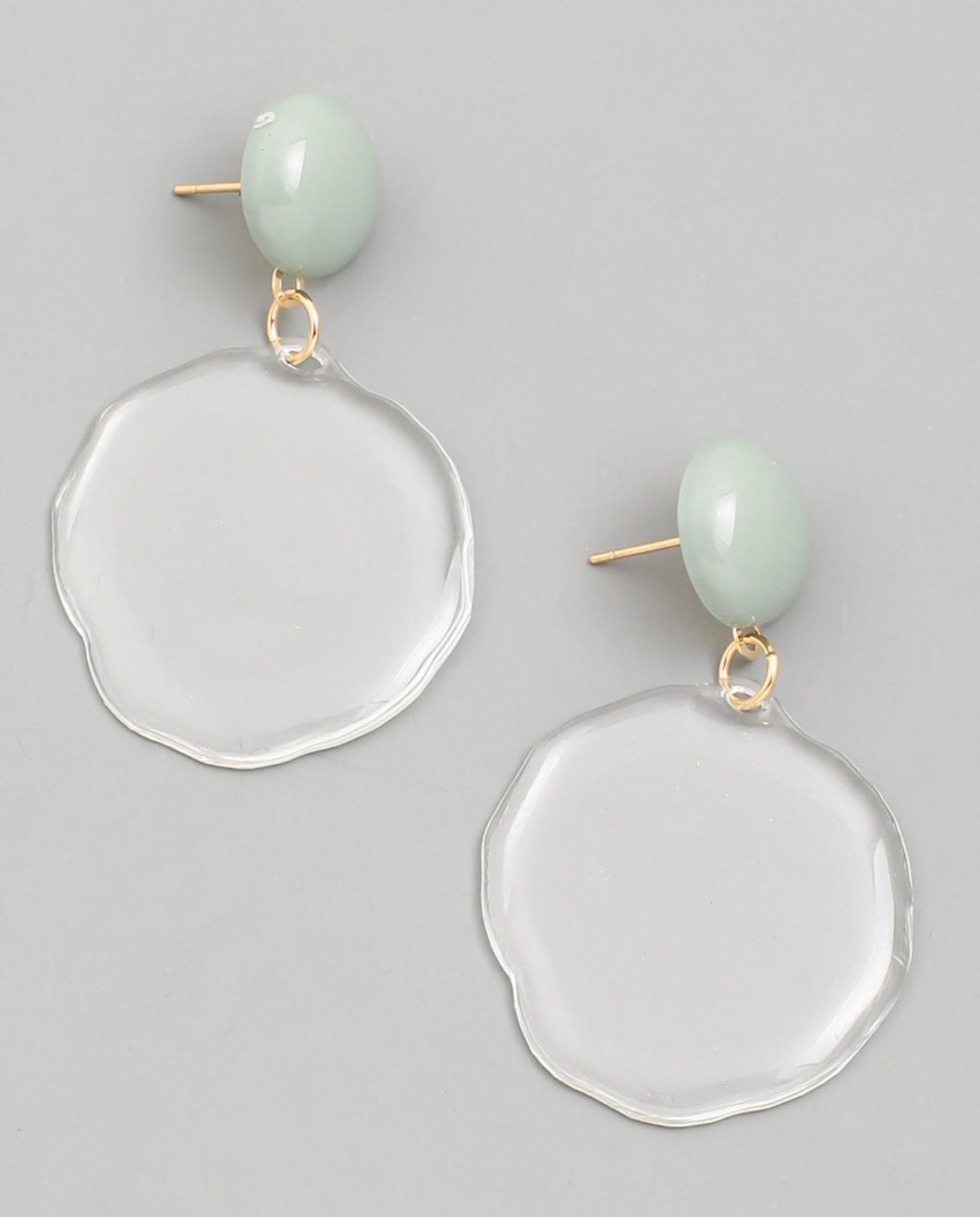 Clear Circle Drop Earrings
