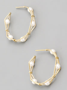 Metallic Geo Hoop Earrings
