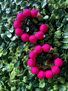 Fuschia Round Small Hoops