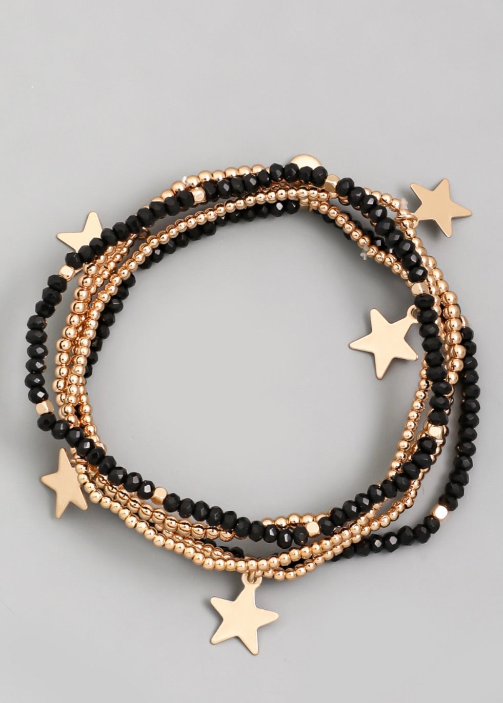 Black Beaded Star Bracelet
